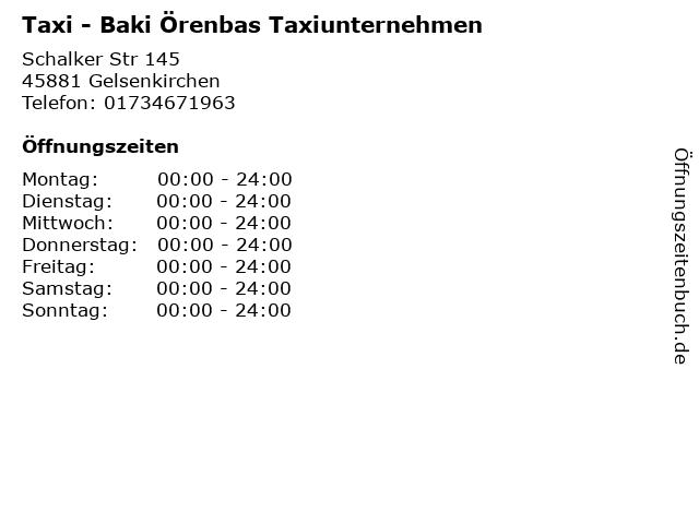 Taxi - Baki Örenbas Taxiunternehmen in Gelsenkirchen: Adresse und Öffnungszeiten