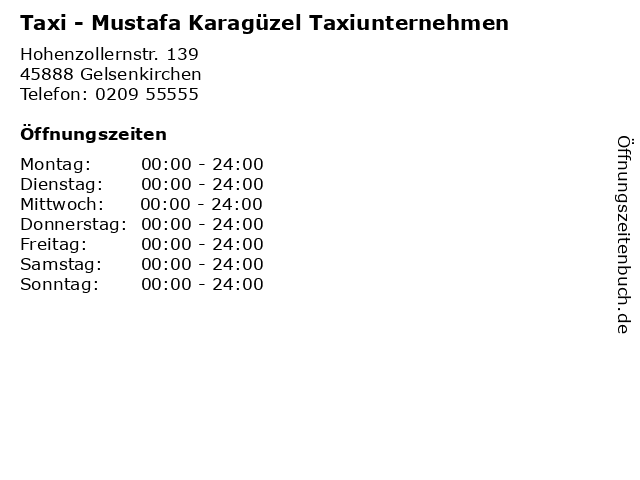 Taxi - Mustafa Karagüzel Taxiunternehmen in Gelsenkirchen: Adresse und Öffnungszeiten