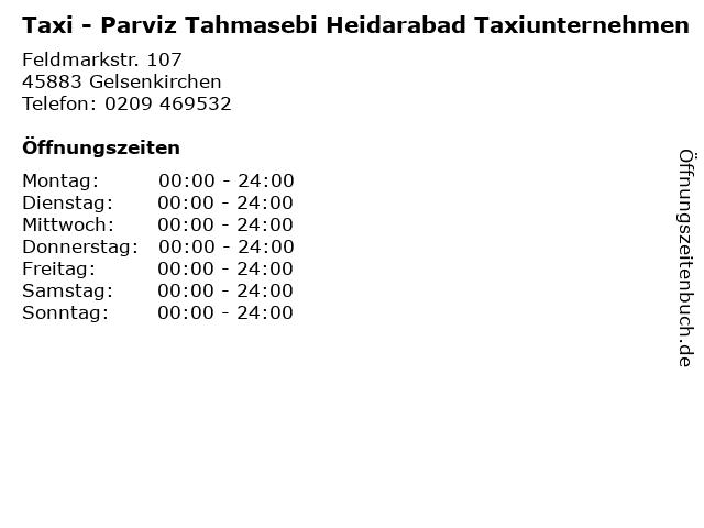 Taxi - Parviz Tahmasebi Heidarabad Taxiunternehmen in Gelsenkirchen: Adresse und Öffnungszeiten