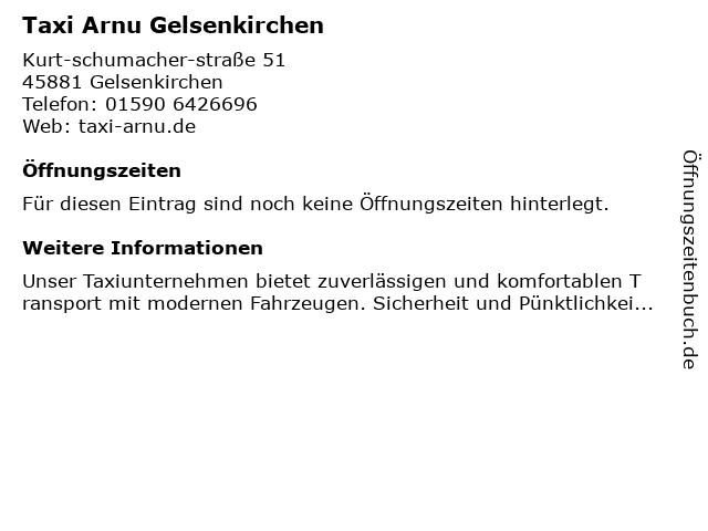 Taxi Arnu Gelsenkirchen in Gelsenkirchen: Adresse und Öffnungszeiten