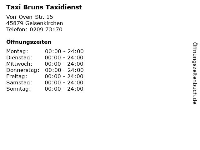 Taxi Bruns Taxidienst in Gelsenkirchen: Adresse und Öffnungszeiten