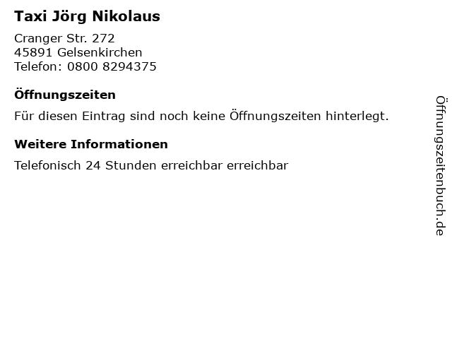 Taxi Jörg Nikolaus in Gelsenkirchen: Adresse und Öffnungszeiten
