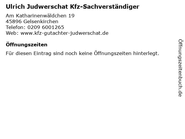 Ulrich Judwerschat Kfz-Sachverständiger in Gelsenkirchen: Adresse und Öffnungszeiten