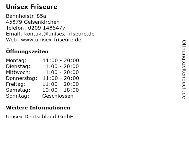 Unisex Friseure in Gelsenkirchen: Adresse und Öffnungszeiten