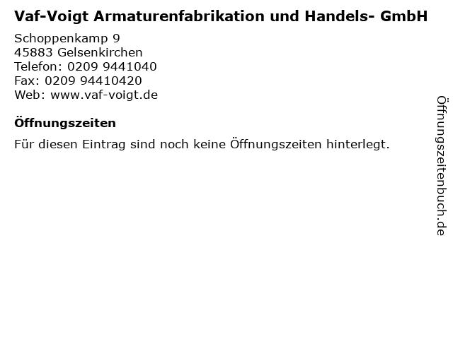 Vaf-Voigt Armaturenfabrikation und Handels- GmbH in Gelsenkirchen: Adresse und Öffnungszeiten