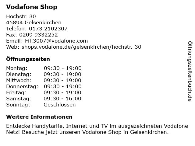 Vodafone Shop in Gelsenkirchen: Adresse und Öffnungszeiten