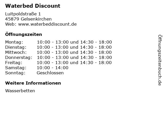 Waterbed Discount in Gelsenkirchen: Adresse und Öffnungszeiten