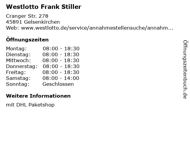 Westlotto Frank Stiller in Gelsenkirchen: Adresse und Öffnungszeiten