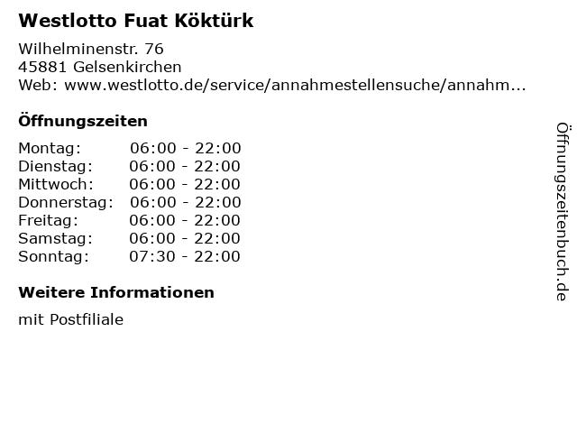 Westlotto Fuat Köktürk in Gelsenkirchen: Adresse und Öffnungszeiten