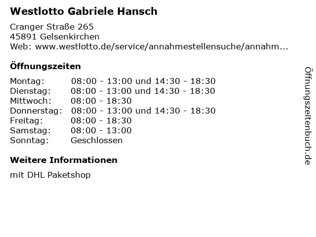 Westlotto Gabriele Hansch in Gelsenkirchen: Adresse und Öffnungszeiten