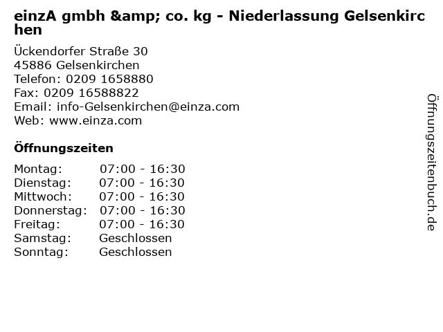 einzA gmbh & co. kg - Niederlassung Gelsenkirchen in Gelsenkirchen: Adresse und Öffnungszeiten