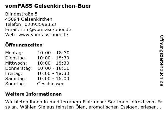 vomFASS Gelsenkirchen-Buer in Gelsenkirchen: Adresse und Öffnungszeiten