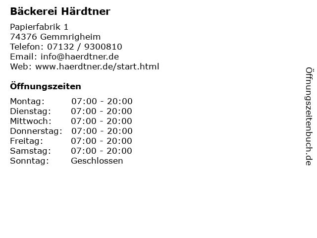 Bäckerei Härdtner - Filiale Rewe Gemmrigheim in Gemmrigheim: Adresse und Öffnungszeiten
