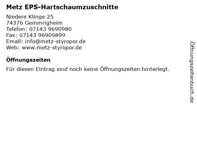 """dirt cheap new style amazing selection ᐅ Öffnungszeiten """"Metz EPS-Hartschaumzuschnitte""""   Niedere ..."""