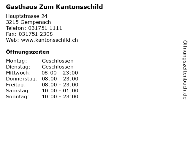 Gasthaus Zum Kantonsschild in Gempenach: Adresse und Öffnungszeiten