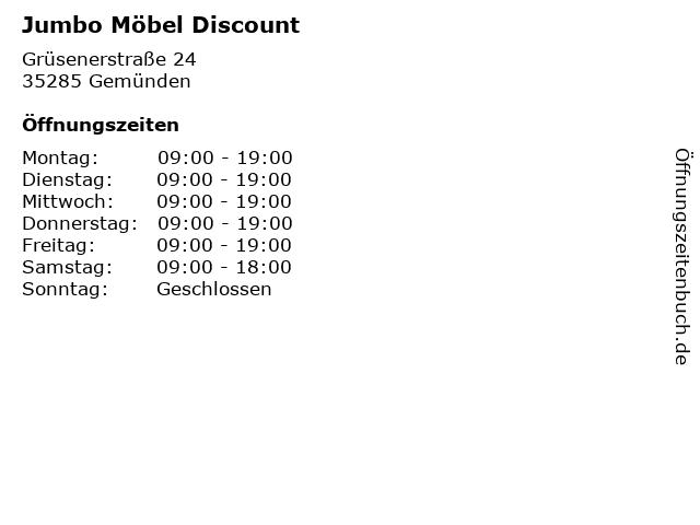 ᐅ öffnungszeiten Jumbo Möbel Discount Grüsenerstraße 24 In Gemünden