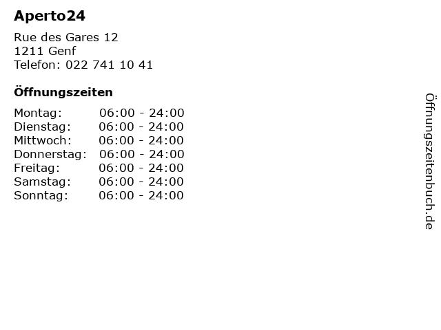 Aperto24 in Genf: Adresse und Öffnungszeiten