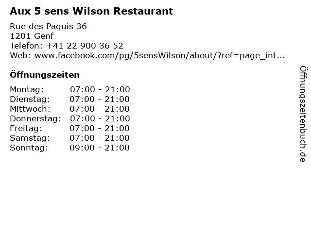 Aux 5 sens Wilson Restaurant in Genf: Adresse und Öffnungszeiten
