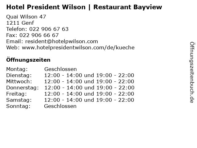 Hotel President Wilson | Restaurant Bayview in Genf: Adresse und Öffnungszeiten