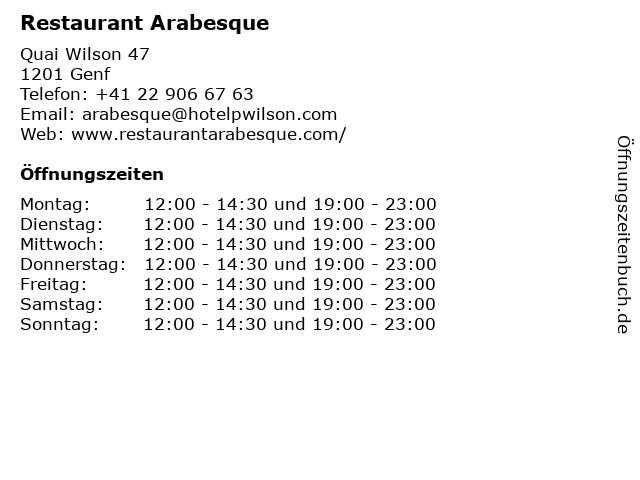 Restaurant Arabesque in Genf: Adresse und Öffnungszeiten