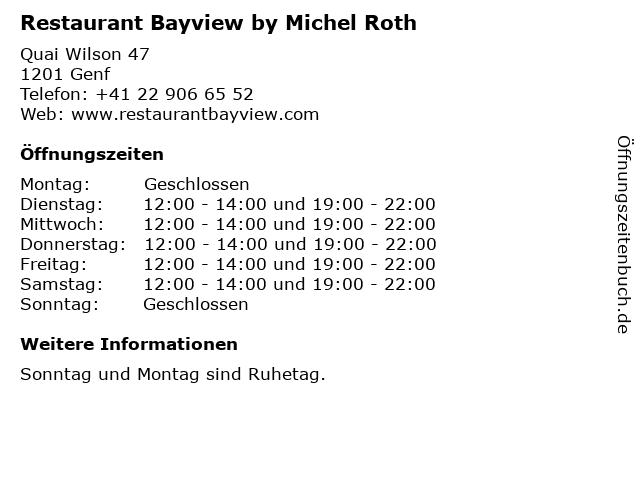 Restaurant Bayview by Michel Roth in Genf: Adresse und Öffnungszeiten