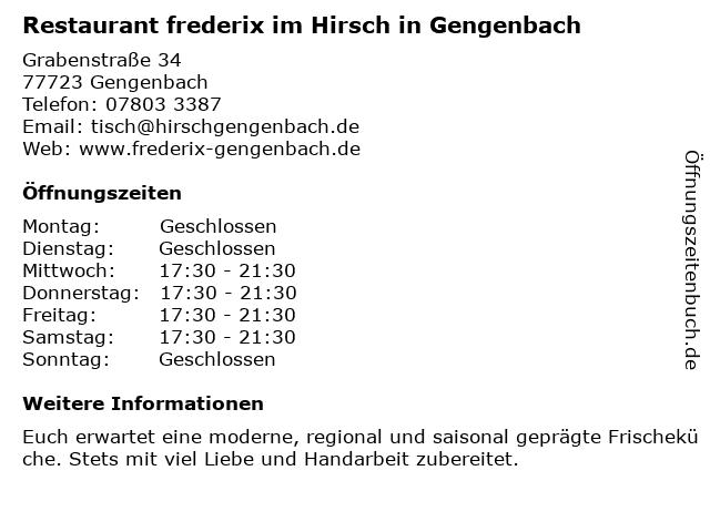 Gasthof Hirsch in Gengenbach: Adresse und Öffnungszeiten