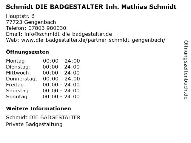 Schmidt GmbH in Gengenbach: Adresse und Öffnungszeiten