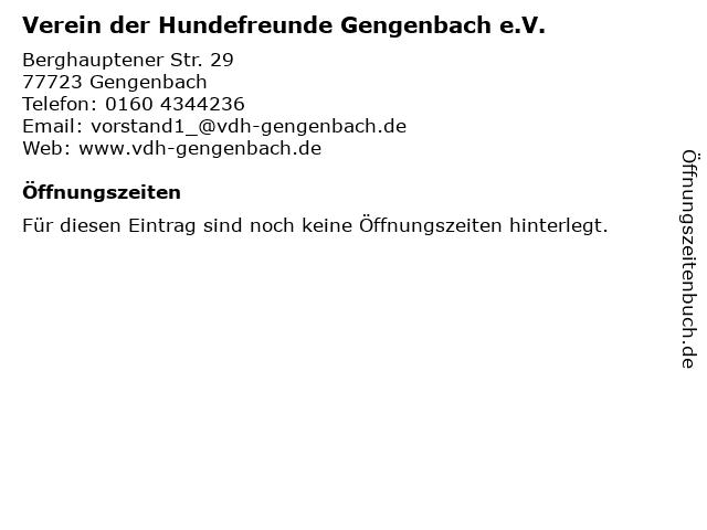 Verein der Hundefreunde Gengenbach e.V. in Gengenbach: Adresse und Öffnungszeiten