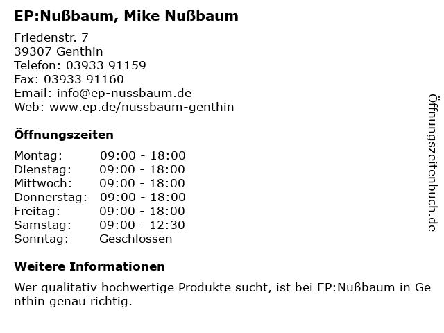 EP:Nußbaum in Genthin: Adresse und Öffnungszeiten