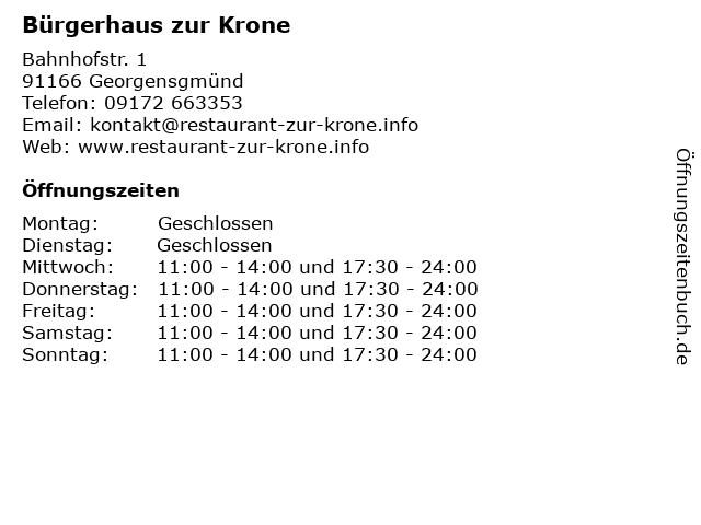 Bürgerhaus zur Krone in Georgensgmünd: Adresse und Öffnungszeiten