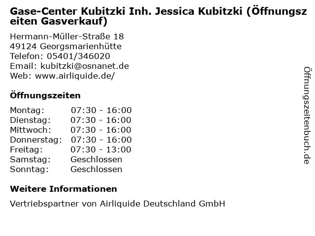 Gase-Center Kubitzki Inh. Jessica Kubitzki (Öffnungszeiten Gasverkauf) in Georgsmarienhütte: Adresse und Öffnungszeiten