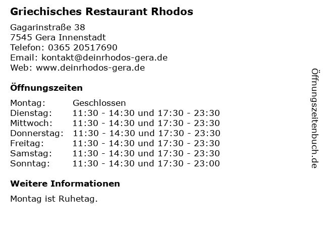 Griechisches Restaurant Rhodos in Gera Innenstadt: Adresse und Öffnungszeiten
