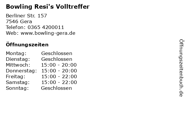 Bowling Resi's Volltreffer in Gera: Adresse und Öffnungszeiten