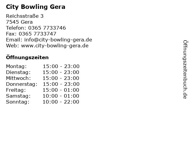 City Bowling Gera in Gera: Adresse und Öffnungszeiten