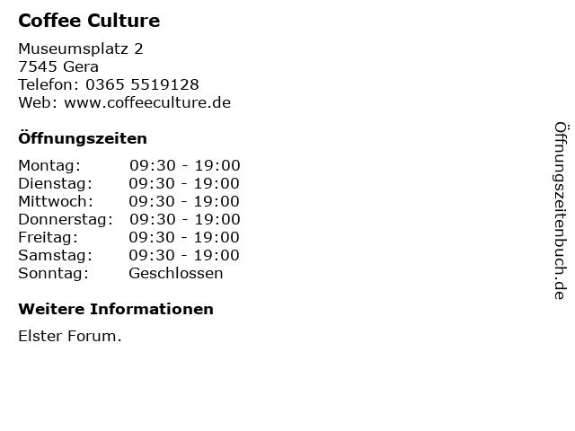 Coffee Culture in Gera: Adresse und Öffnungszeiten