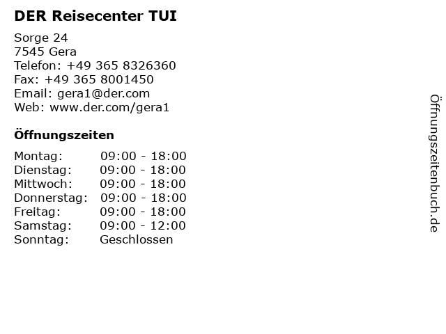 DER Reisecenter TUI in Gera: Adresse und Öffnungszeiten