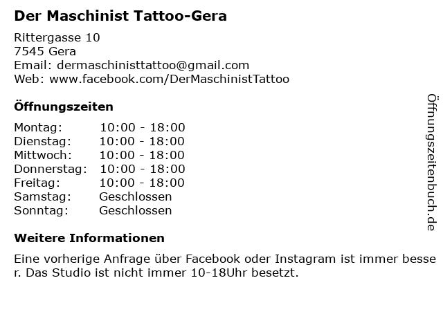 Der Maschinist Tattoo-Gera in Gera: Adresse und Öffnungszeiten