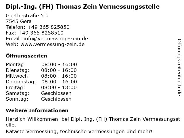 Dipl.-Ing. (FH) Thomas Zein Vermessungsstelle in Gera: Adresse und Öffnungszeiten