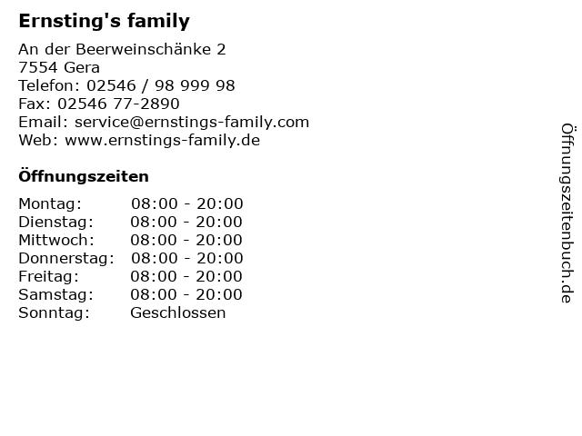 Ernsting's family in Gera: Adresse und Öffnungszeiten