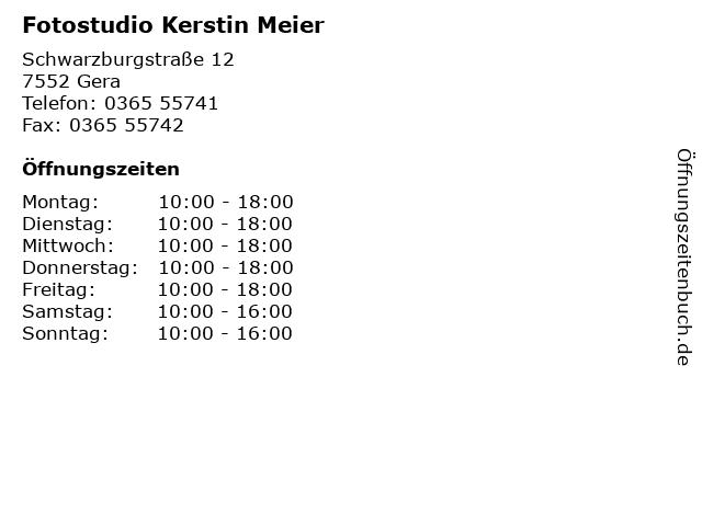 Fotostudio Kerstin Meier in Gera: Adresse und Öffnungszeiten