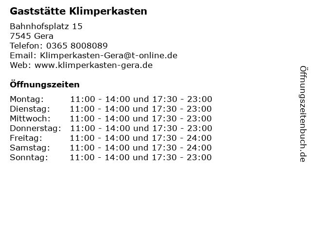 Gaststätte Klimperkasten in Gera: Adresse und Öffnungszeiten
