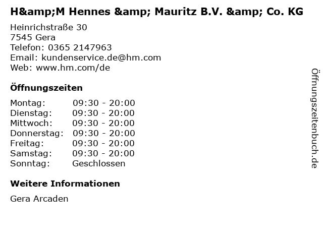 H&M Hennes & Mauritz B.V. & Co. KG in Gera: Adresse und Öffnungszeiten