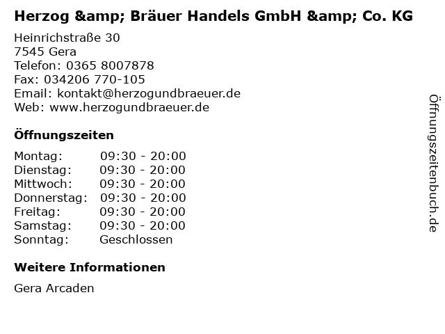 Herzog & Bräuer Handels GmbH & Co. KG in Gera: Adresse und Öffnungszeiten