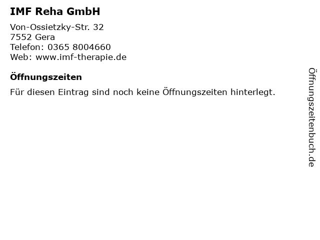 IMF Reha GmbH in Gera: Adresse und Öffnungszeiten