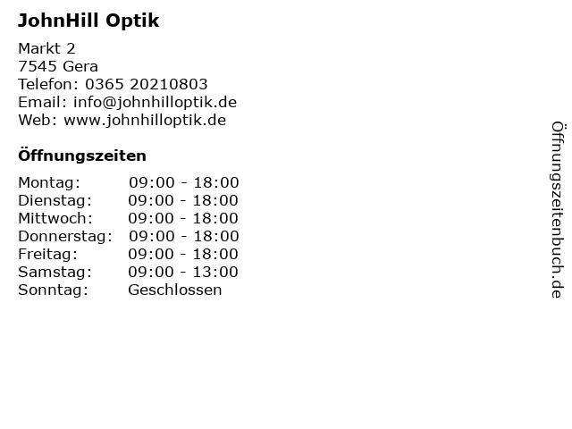 JohnHill Optik in Gera: Adresse und Öffnungszeiten