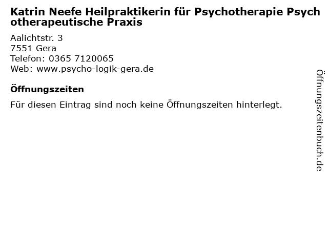 Katrin Neefe Heilpraktikerin für Psychotherapie Psychotherapeutische Praxis in Gera: Adresse und Öffnungszeiten
