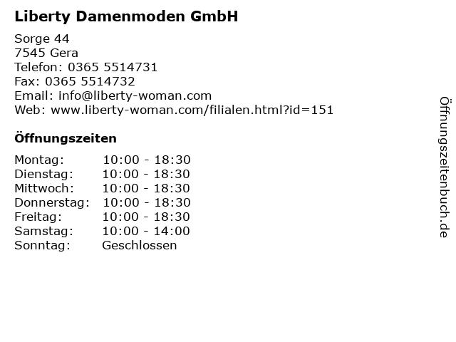 Liberty Damenmoden GmbH in Gera: Adresse und Öffnungszeiten