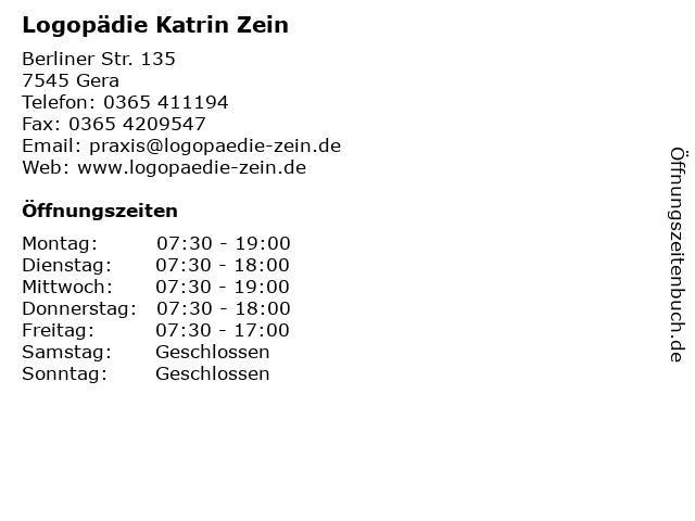 Logopädie Katrin Zein in Gera: Adresse und Öffnungszeiten