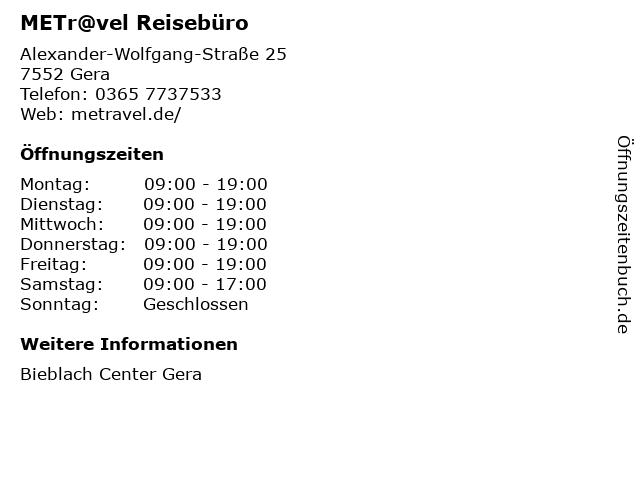 METr@vel Reisebüro in Gera: Adresse und Öffnungszeiten