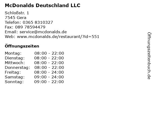 McDonalds Deutschland LLC in Gera: Adresse und Öffnungszeiten